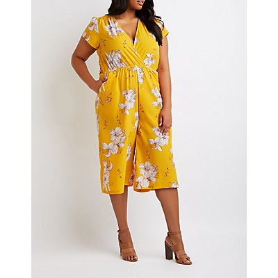 Plus Size Floral Wrap Jumpsuit