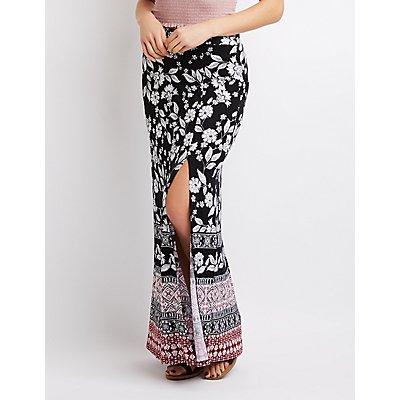 Border Print Side Slit Maxi Skirt