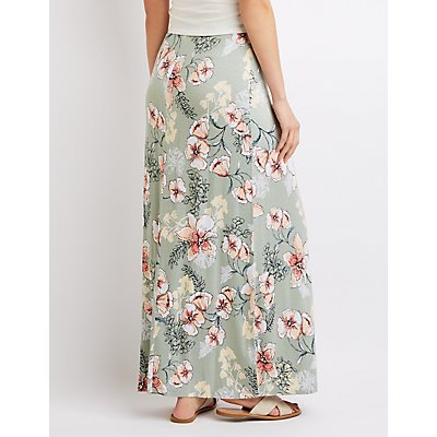 Floral Side Slit Maxi Skirt