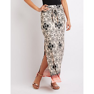 Paisley Tie-Front Maxi Skirt