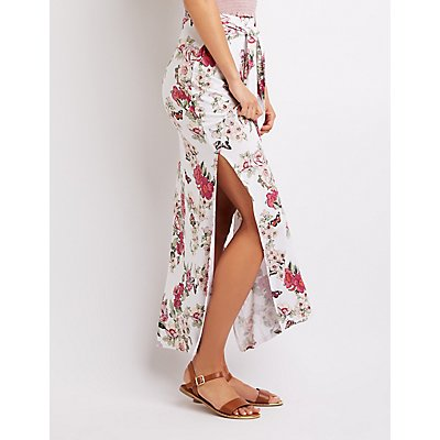 Floral Tie-Front Maxi Skirt
