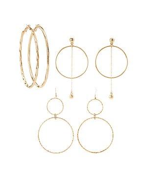 Embellished Hoop & Drop Earrings - 3 Pack