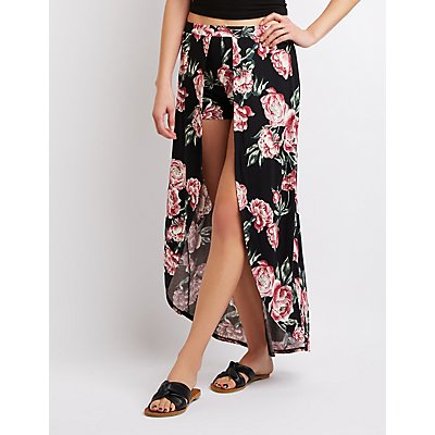 Floral Layered Maxi Shorts