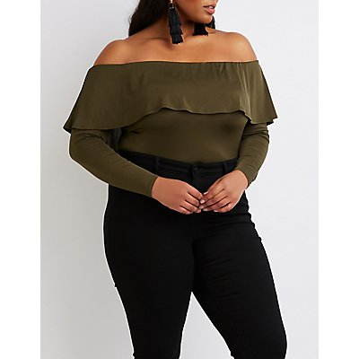Plus Size Ruffle-Trim Crop Top
