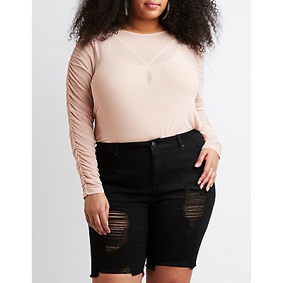 Plus Size Ruched Sleeve Mesh Top