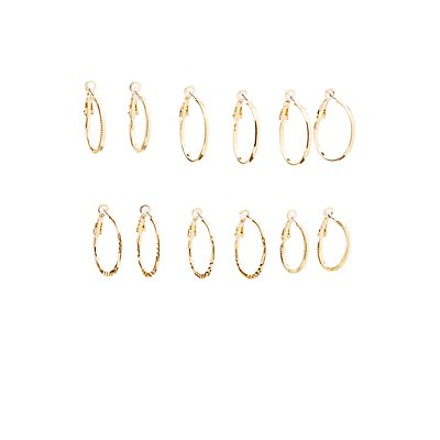 Textured Hoop Earrings - 6 Pack