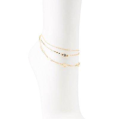 Crystal & Leaf Anklet
