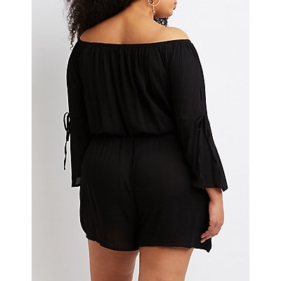 Plus Size Off-The-Shoulder Romper