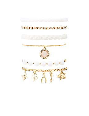 Faux Pearl & Beaded Bracelets - 6 Pack