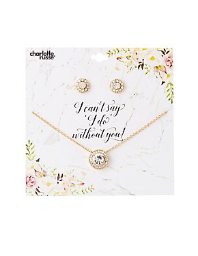 Crystal Stud Earrings & Pendant Necklace Set