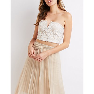 Lace V Neck Crop Top by Charlotte Russe