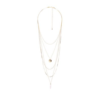 Stone Penant Layering Necklaces