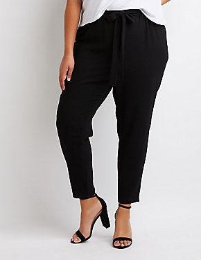 Plus Size Belted Skinny Trousers