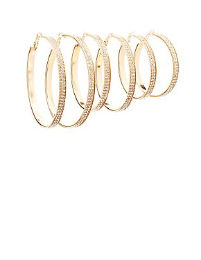 Embellished Hoop Earrings - 3 Pack