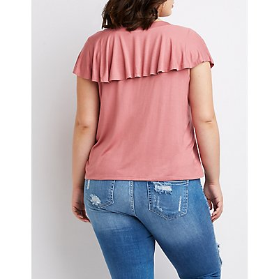 Plus Size Ruffle Lace Up Top