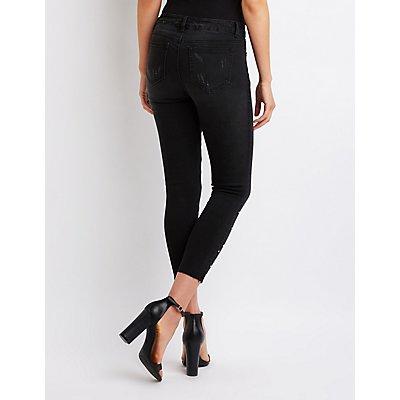 Destroyed Stud Skinny Jeans