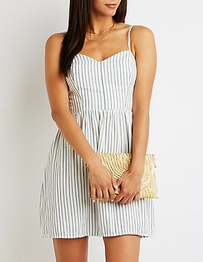 Striped Sweetheart Skater Dress