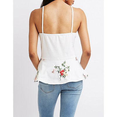Mesh Embroidered Peplum Top