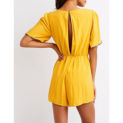 Pom Pom Cut Out Romper