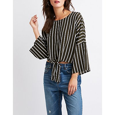 Striped Front-Tie Top