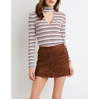 Ribbed Knit Mock Neck Cut-Out Top