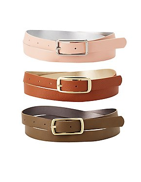 Fuax Leather Reversible Belts - 3 Pack