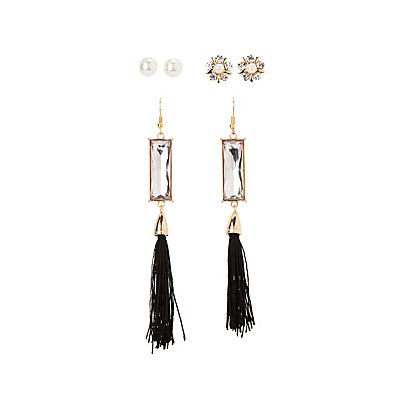 Embellished Stud & Tassel Earrings - 3 Pack