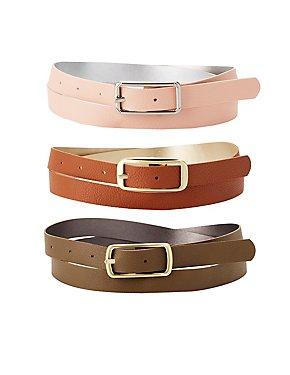Plus Size Reversible Belts - 3 Pack