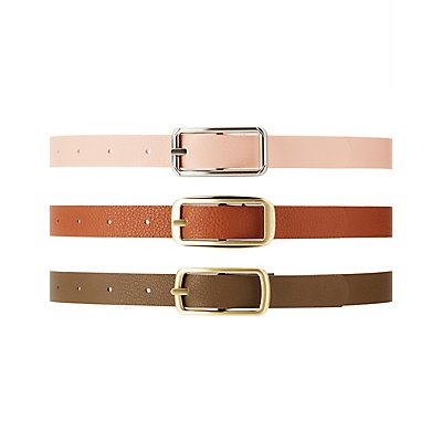 Plus Size Reversible Belts - 3 Pack