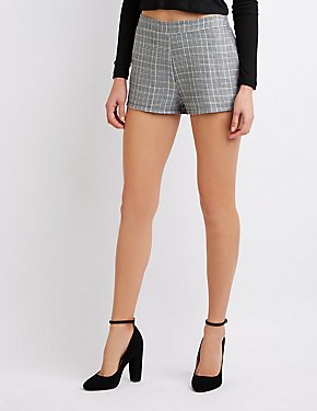 Hi-Rise Plaid Shorts