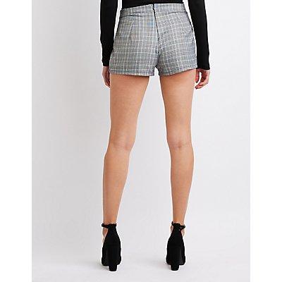 Hi-Rise Plaid Shorts