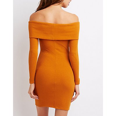 Ribbed Off-The-Shoulder Bodycon Sweater Dress