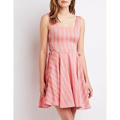 Striped Lace-Up Skater Dress