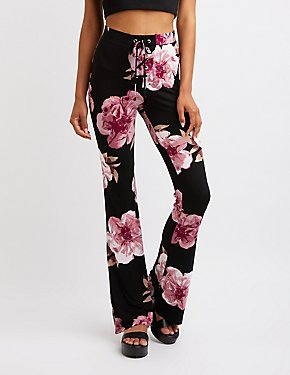 Floral Lace Up Flare Pants
