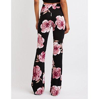 Floral Lace Up Flare Pants