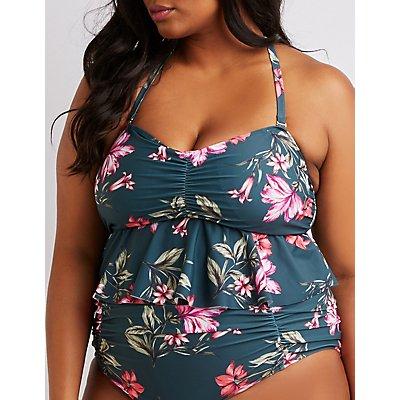 Plus Size Floral Ruffle Peplum Bikini Top
