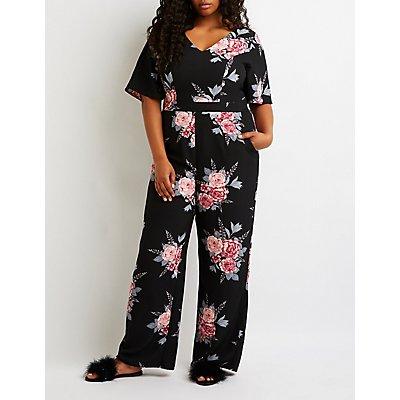 Plus Size Floral Kimono Sleeve Jumpsuit