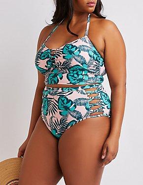 Plus Size Printed Caged Longline Bikini Top