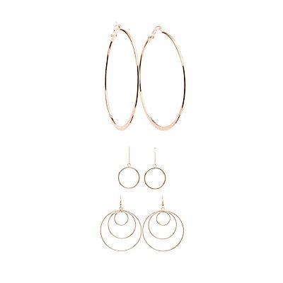 Textured Hoop & Drop Earrings - 3 Pack