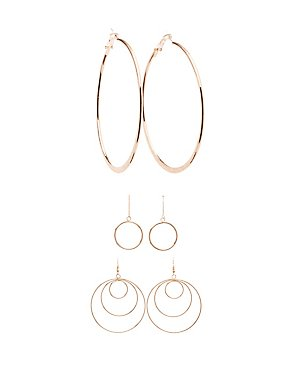 Textrued Hoop & Drop Earrings - 3 Pack