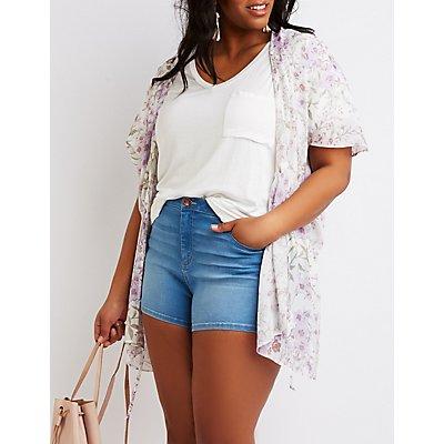 Plus Size Floral Tie-Front Kimono Top