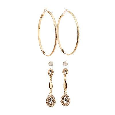 Crystal Earrings - 3 Pack