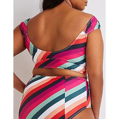 Plus Size Tie-Front Longline Bikini Top