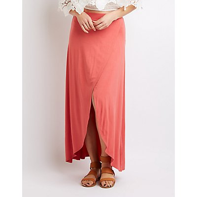 Faux Wrap Maxi Skirt