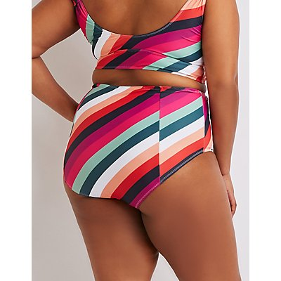 Plus Size Striped High-Waist Bikini Bottoms
