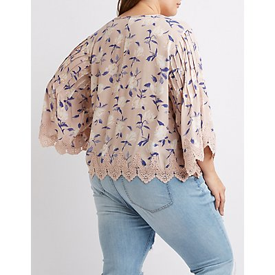Plus Size Floral Crochet Top