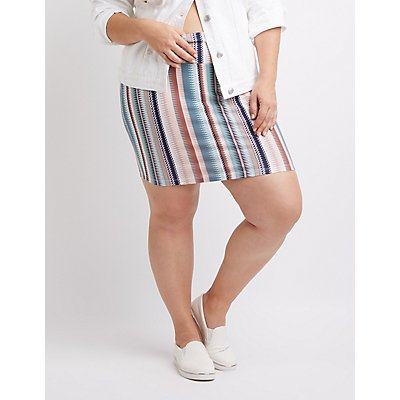 Plus Size Printed Mini Skirt