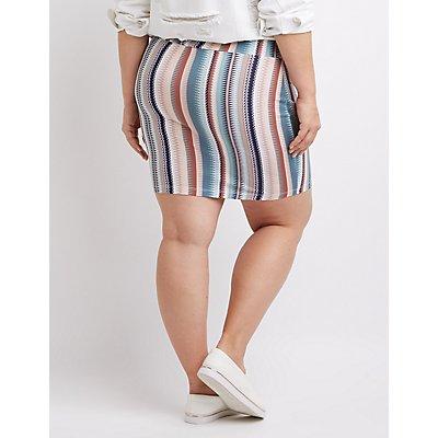 Plus Size Printed Mini Skirt