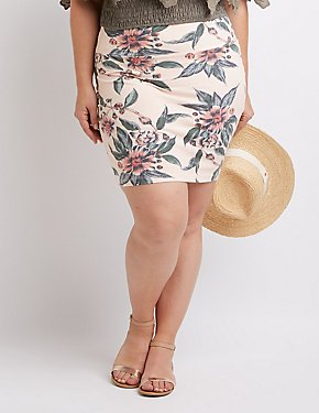 Plus Size Floral Mini Skirt