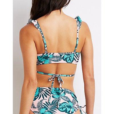 Leaf Printed Wrap-Tie Bikini Top